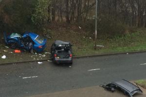 VIDEO AND PICTURES: Two drivers bailed after two men killed in three vehicle horror crash in Bradford
