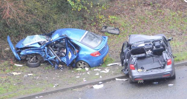 Bradford Telegraph and Argus: Two of the cars involved in a crash on Shipley Airedale Road