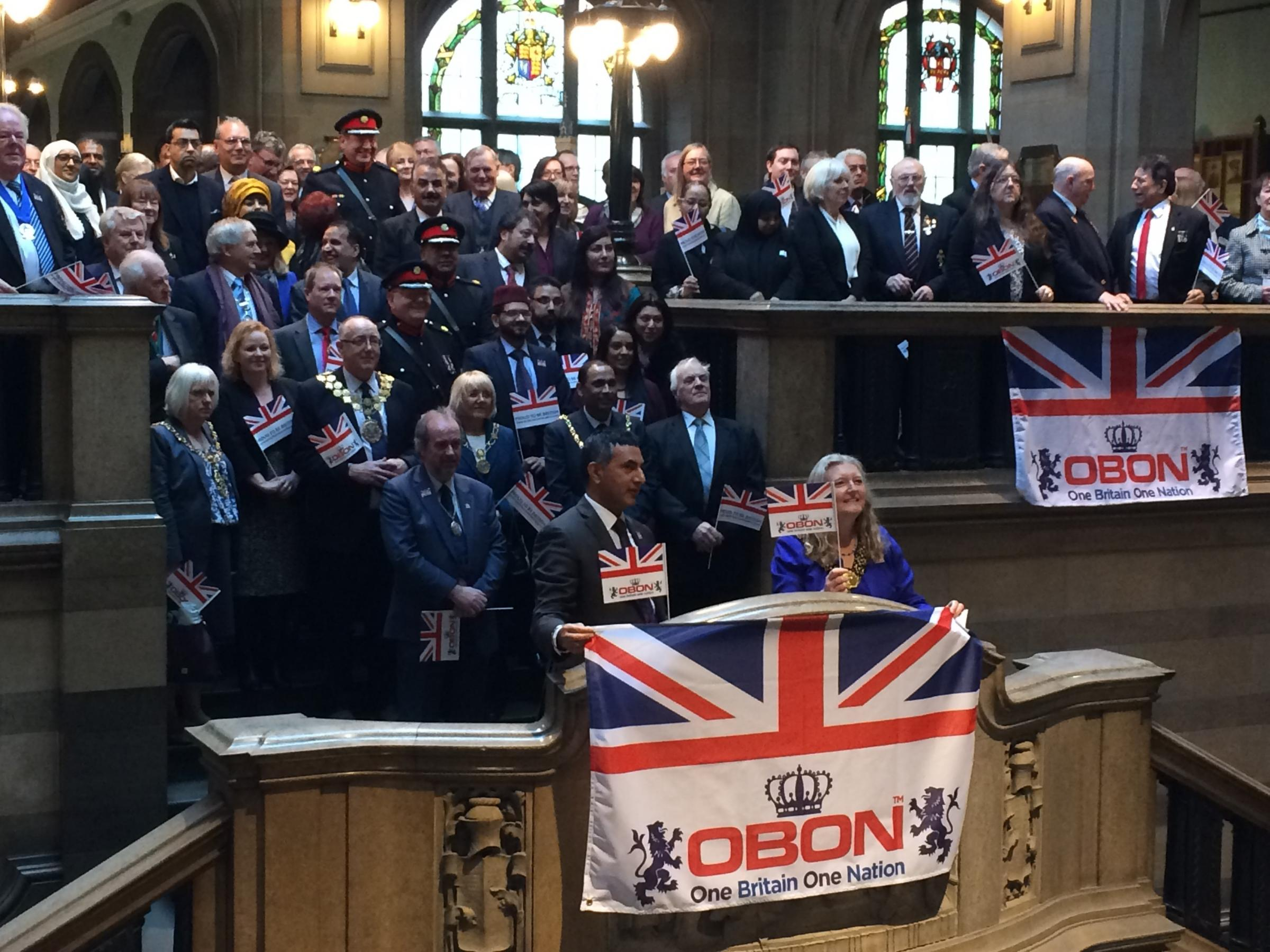Dignitaries gathered at City Hall to kick off One Britain One Nation's campaign to celebrate the Queen's 90th birthday