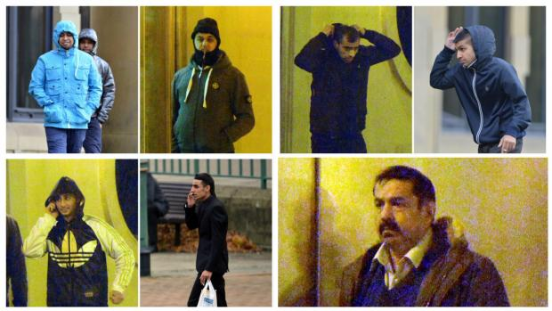 Bradford Telegraph and Argus: Clockwise, from top left, Nazir and Faisal Khan, Zain Ali, Saqib Younis, Sufyan Zirarab, Mohammed Akram, Hussain Sardar and Israr Ali pictured during the trial at Bradford Crown Court