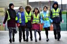 Pupils at Horton Grange taking part in a sponsored walk are, from left, Nineebah Rahim, Raza Hashmi, Yousef Hussain, Zaina Al-Yousef, Maheen Gul, and  Abdus-Jamad Ishtiaq
