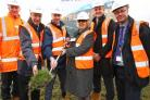 Councillor Val Slater with Keepmoat and Bradford Council representatives at the Millers Croft sod turning ceremony
