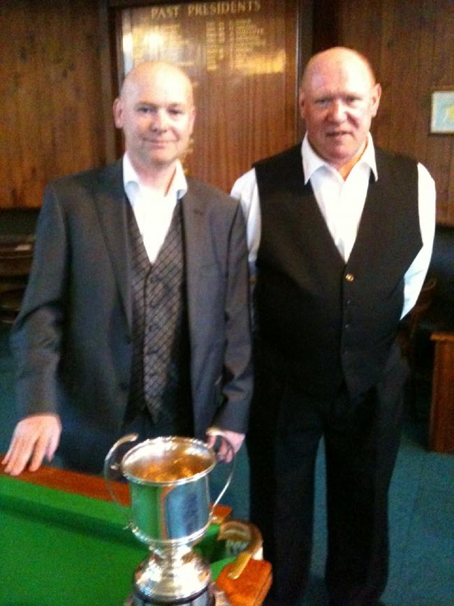 Mark Hirst, left, has won the Bradford Billiards Championship for an eighth time