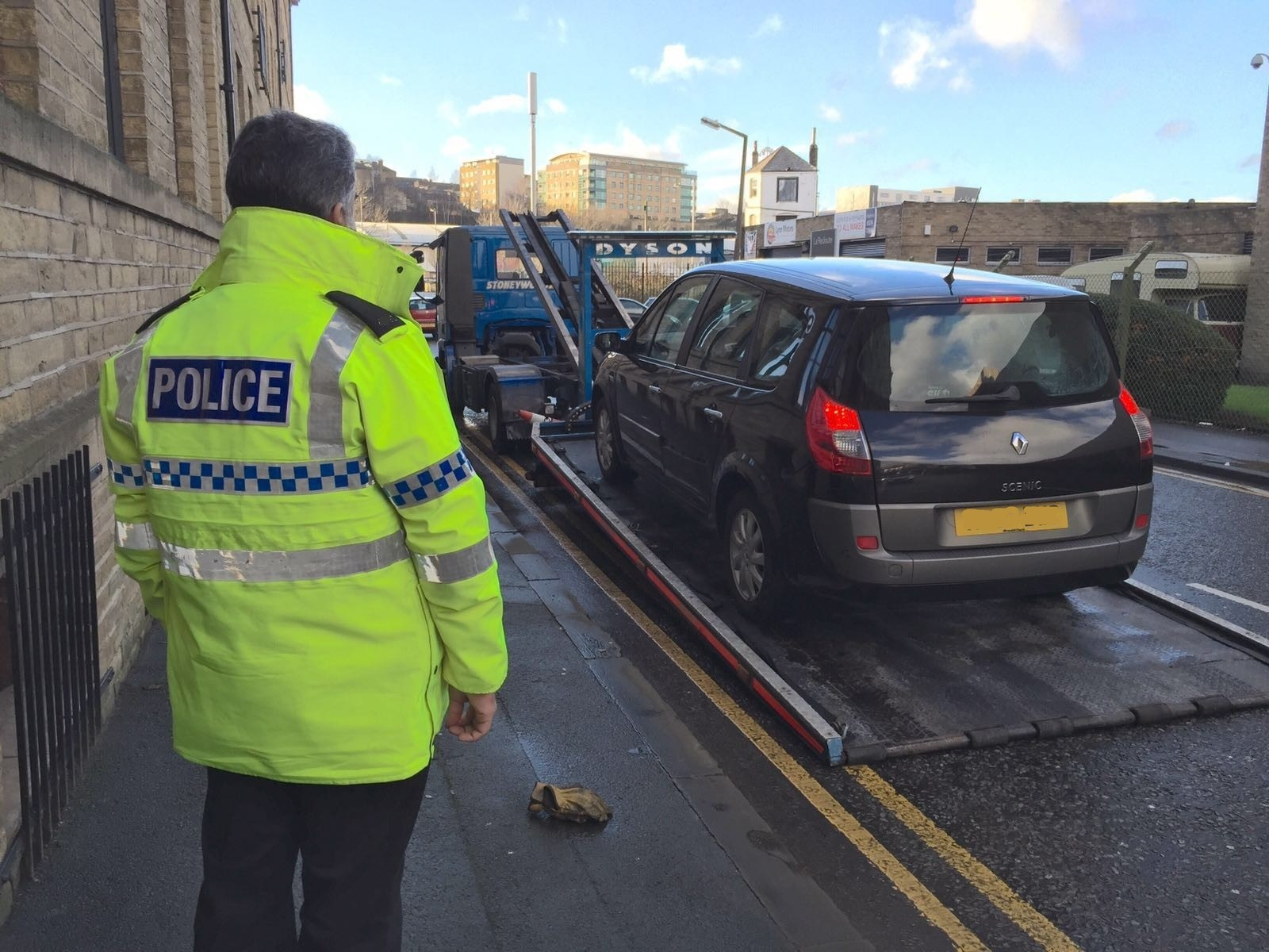 A car seized during a police crackdown on danger drivers in Bradford.