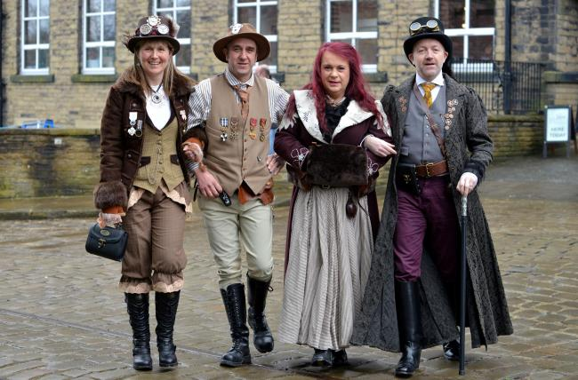 Steampunk event at the Bradford Industrial museum. l to r  Barbara Stainforth, Roger williams, Katie Jane, Andrew Mann.