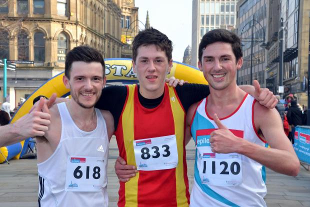 Bradford Telegraph and Argus: Winner Joe Sagar flanked by second-placed Sam Clegg, left, and third-placed Joe Townsend, right