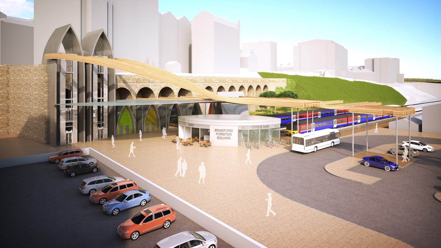 An artist's impression of how the new Forster Square Station entrance could look.