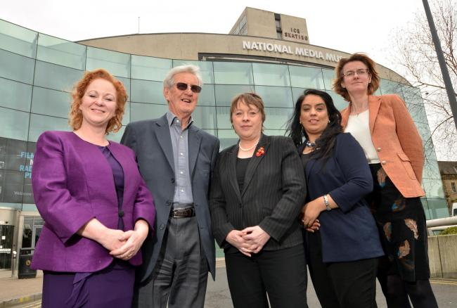 Judith Cummins MP, Colin Ford, the museum's first director, shadow culture secretary Maria Eagle, Naz Shah MP and Councillor Susan Hinchcliffe outside the National Media Museum