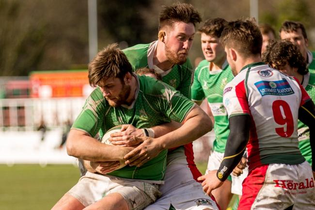 Rob Baldwin secures possession for Wharfedale at Plymouth Albion Picture: Ro Burridge