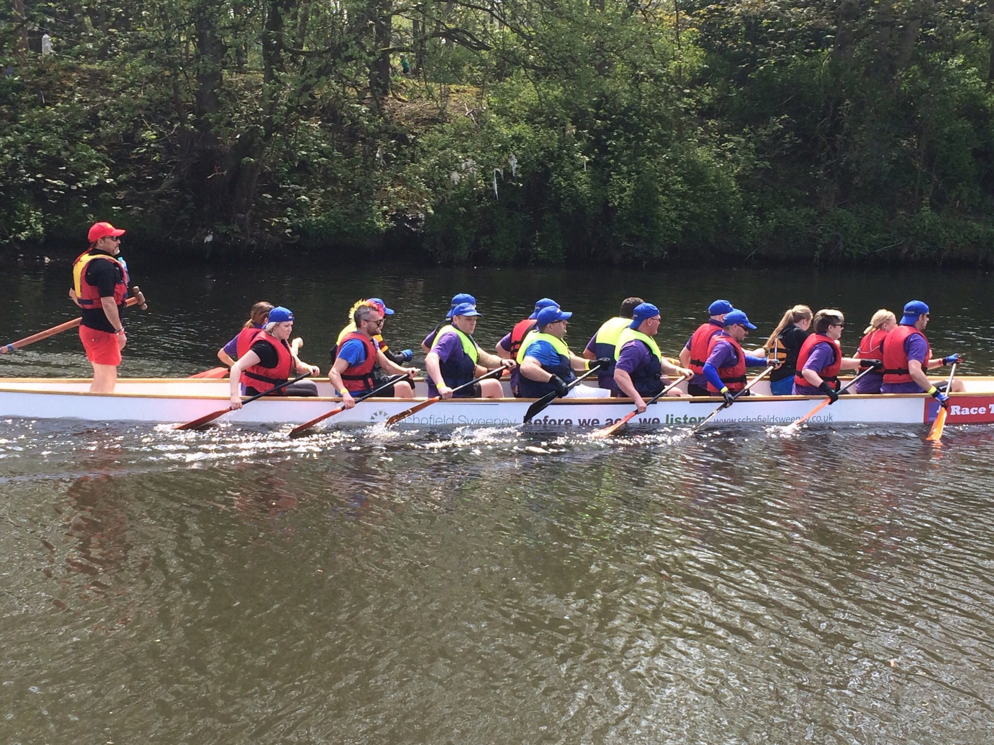 The dragon boat teams negotiated the full length of the Leeds and Liverpool Canal