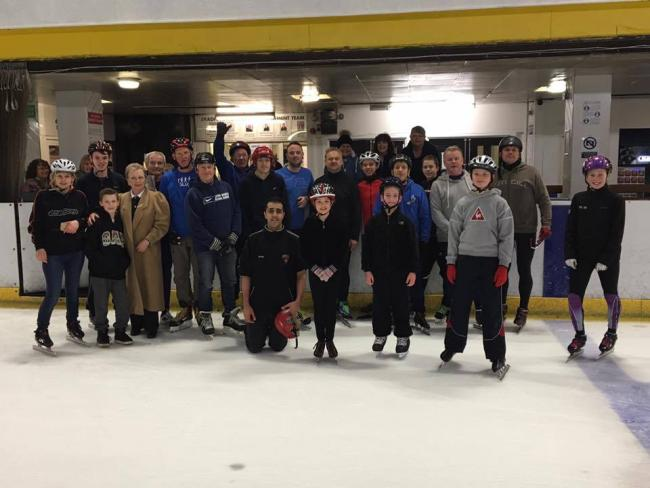 The 20 members who attended Bradford Ice Speed Skating Club's relaunch at Bradford Ice Rink