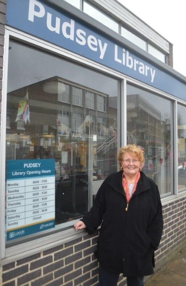 Pudsey councillor Josie Jarosz outisde the town's library