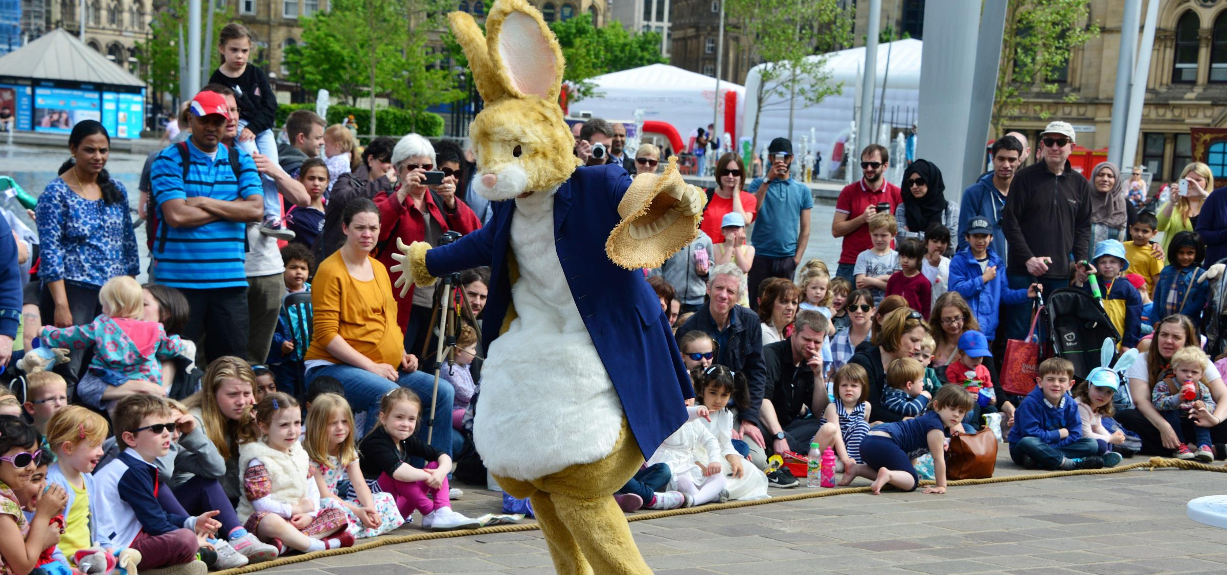 Peter Rabbit entertains crowds at the Bradford Literature Festival