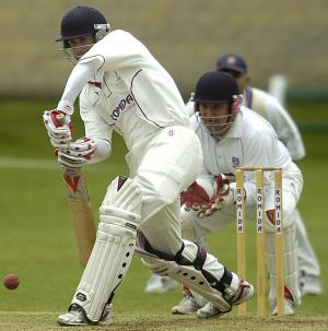 Sam Frankland is watchful on his way to 62, which proved a match-winning innings for Woodlands against Pudsey Congs last week