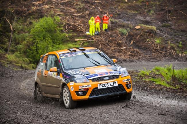 Bingley's Sam Bilham on his way to third place at a muddy Nicky Grist Stages Rally at Builth Wells Picture: Chicane Media