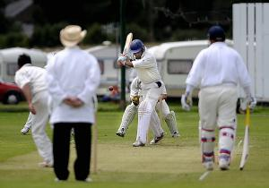 Adam Patel is in watchful mood on his way to 46 for Pudsey Congs against Esholt