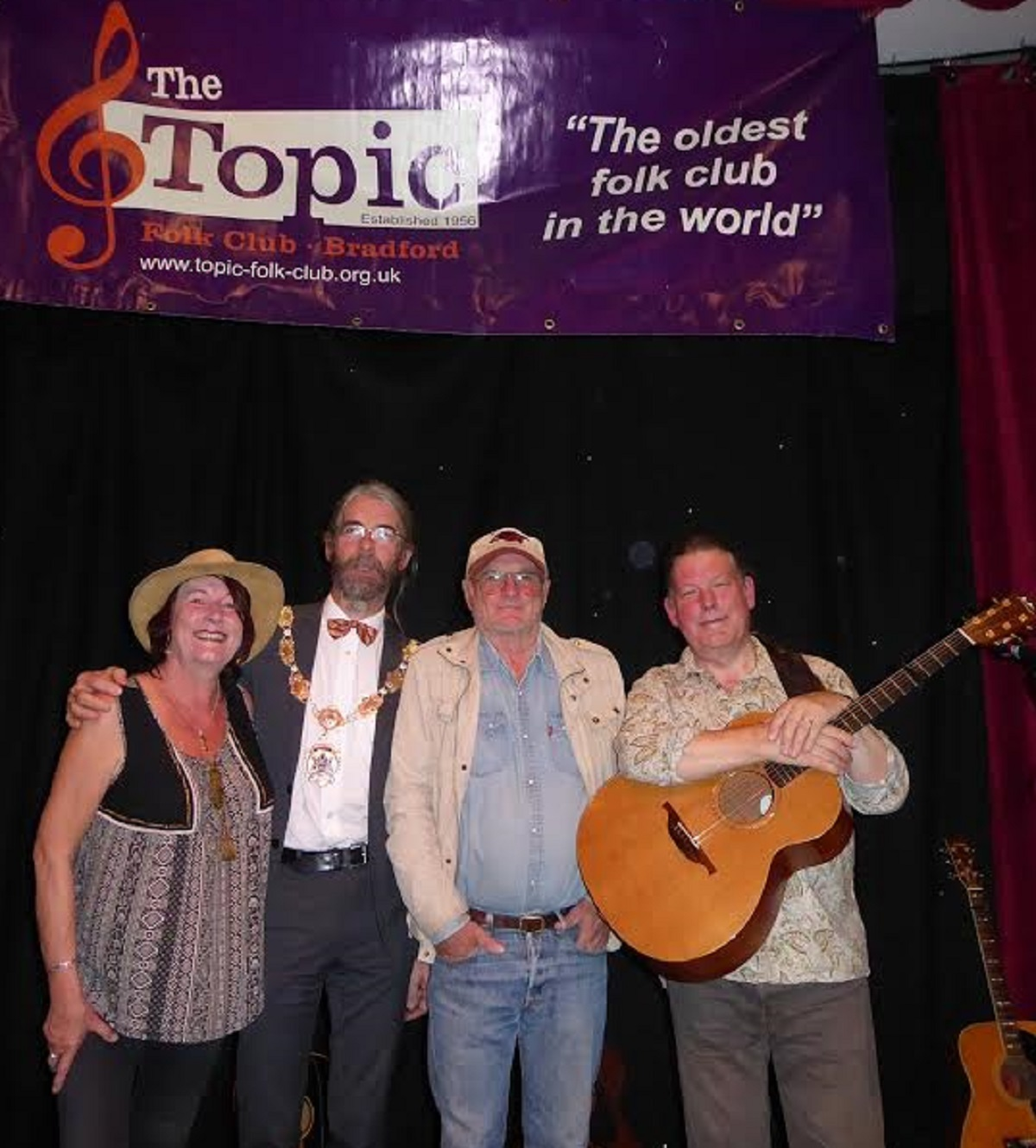 Topic Folk Club stalwarts celebrate the start its 60th year season and a visit from the Deputy Lord Mayor of Bradford Alun Griffiths