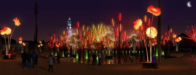 An artist's impression of the Forest of Light which will take over City Park next week