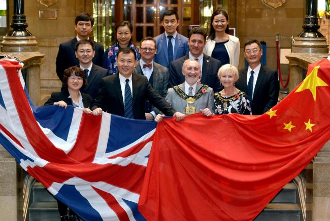A Chinese delegation visited Bradford and met Lord Mayor Councillor Geoff Reid to learn more about the Unesco City of Film status and see film locations