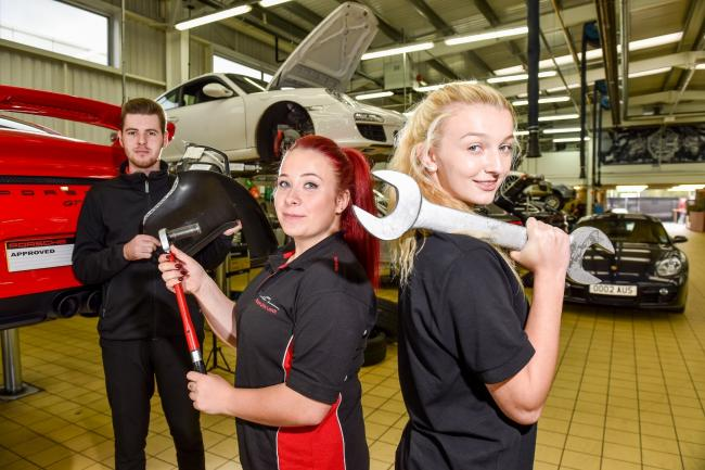 RECRUITS: New JCT600 apprentices include Jake Murrell, Stacey Chandler and Jessica Suffield from Cleckheaton. Photo: Simon Dewhurst