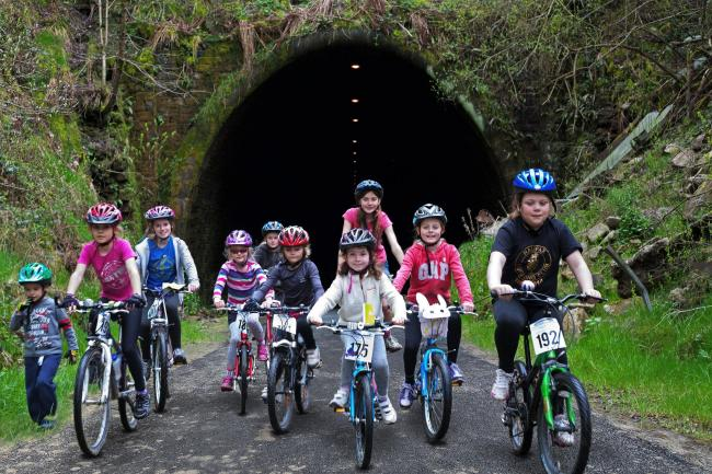 Young cyclists at the northern entrance to the Queensbury Tunnel