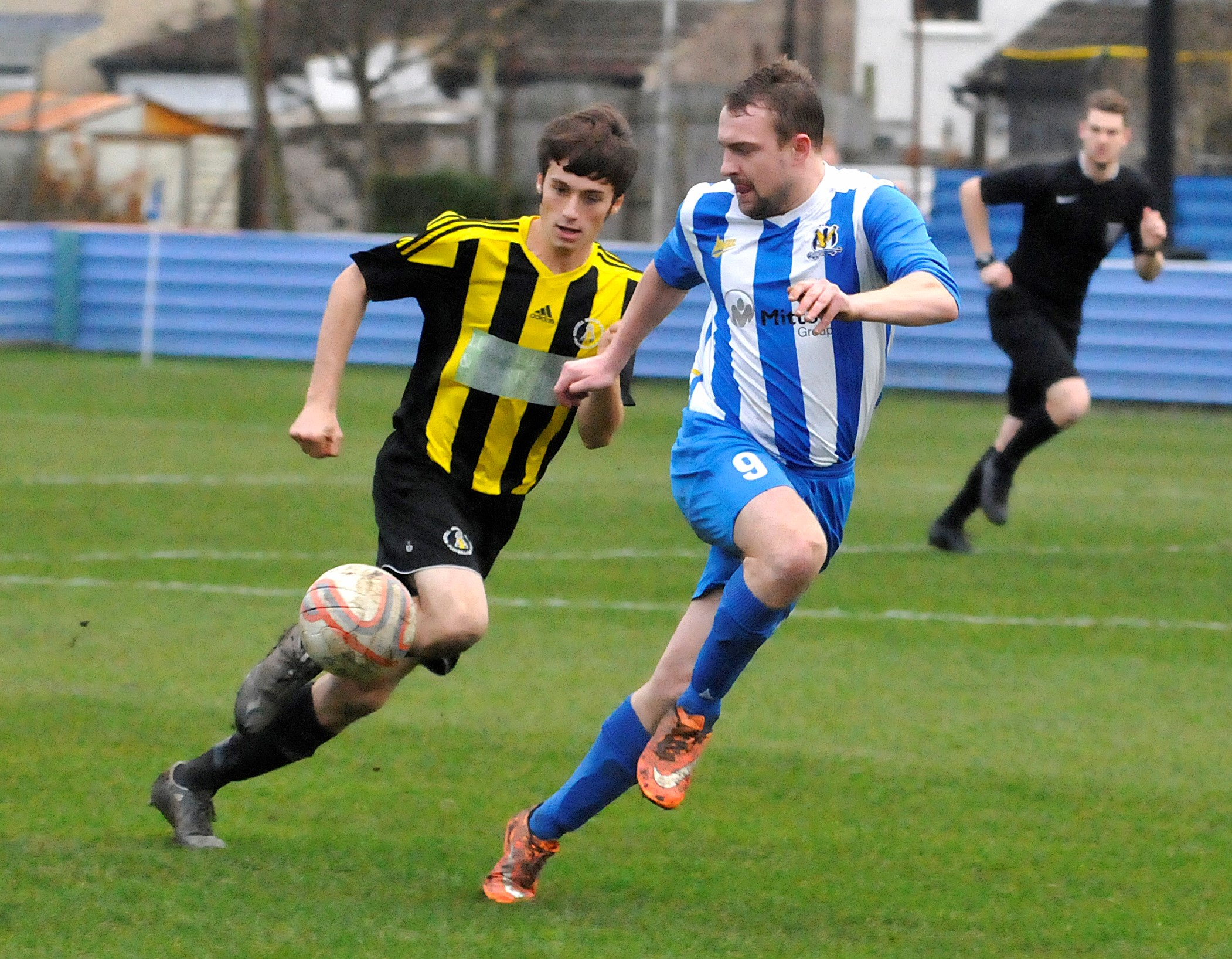 Luke Harrop, right, scored twice for Eccleshill United on the opening day of the season against Yorkshire Amateur
