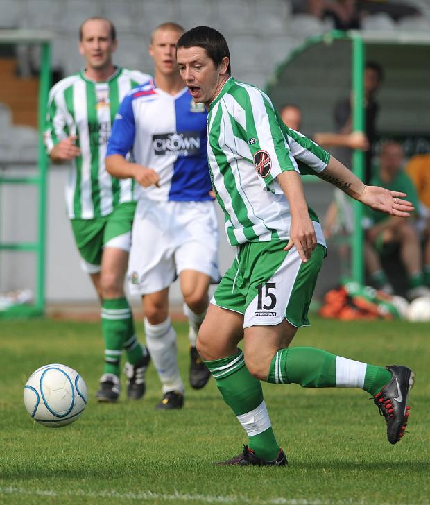 Rory Patterson, right, in action for Avenue against Blackburn in a friendly on Saturday