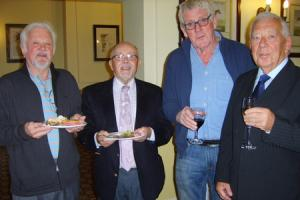Donald Naismith (right) with friends from Belle Vue Boys' School at the launch of his book at the Midland Hotel, Bradford