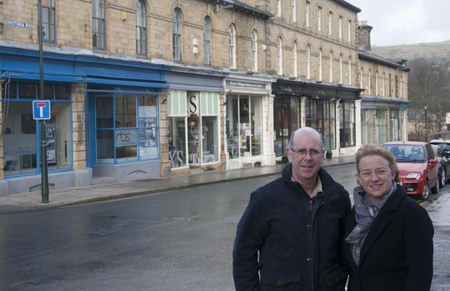 Councillor Martin Love and former Green Party leader Natalie Bennett in Saltaire