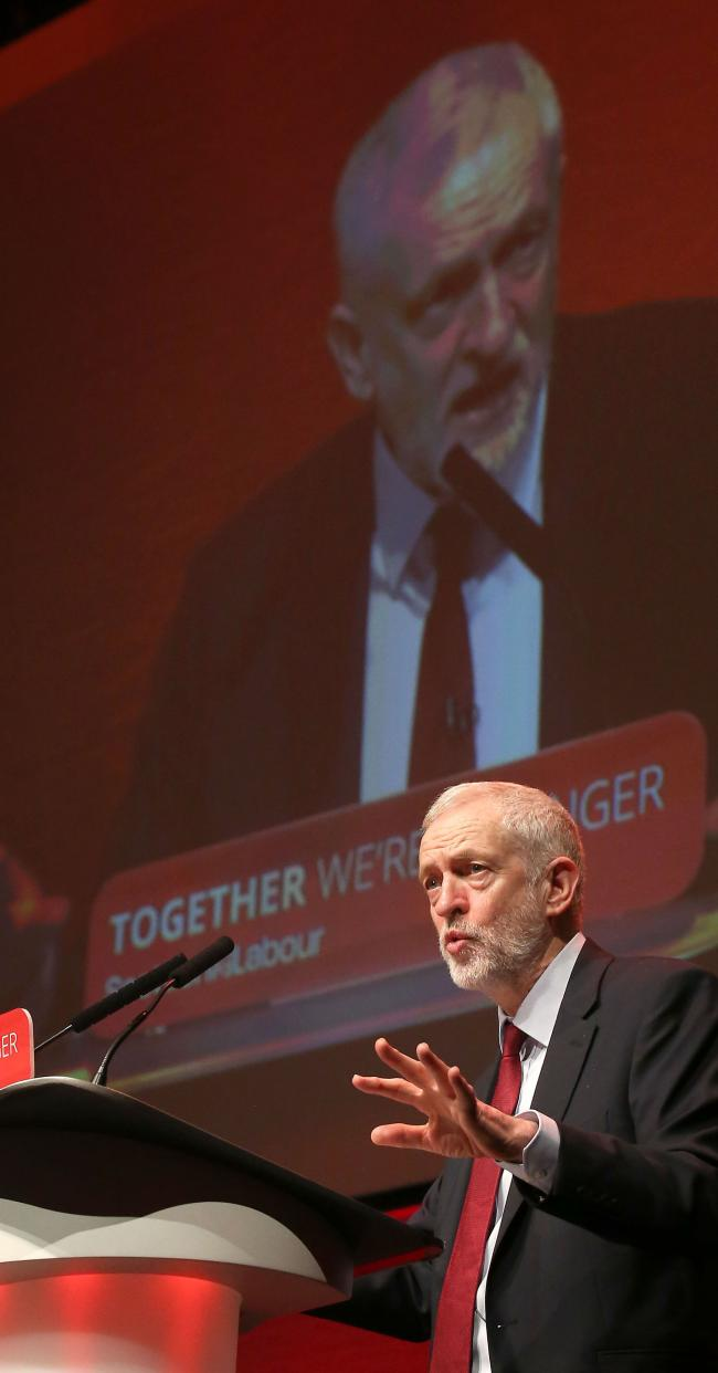 FIGHT: Jeremy Corbyn at the Scottish Labour Party Conference at Perth Concert Hall