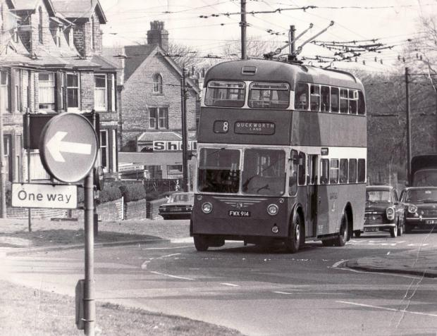 Bradford Telegraph and Argus: Duckworth Lane route 8 trolleybus making one of its last journeys on March 20, 1972