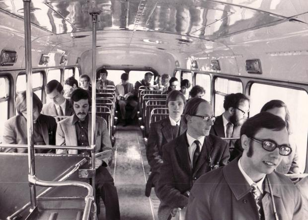 Bradford Telegraph and Argus: Passengers take a ride Bradford's last trolleybus