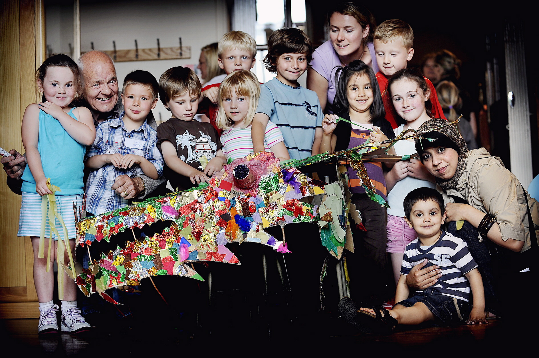 Children help build Lucky Lister Dragon at Cartwright Hall