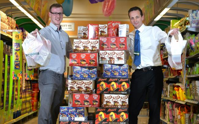 Bradford soup run charity takes delivery of easter eggs from bradford soup run volunteer luke walsh left with girlington morrisons store manager richard storey negle Image collections