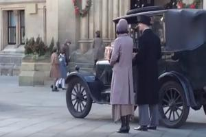Filming for Peaky Blinders outside Bradford's City Hall this week