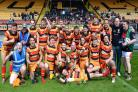 Underdogs Brighouse Rangers celebrate winning the Andrew Bennett Memorial Trophy at Odsal Stadium Picture: Richard Leach