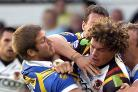 Nick Scruton tackles Jamie Langley during the Bulls' 28-18 defeat at Headingley last month