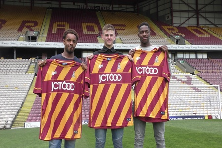 Callum Gunner, middle, when he first joined City at the end of last season