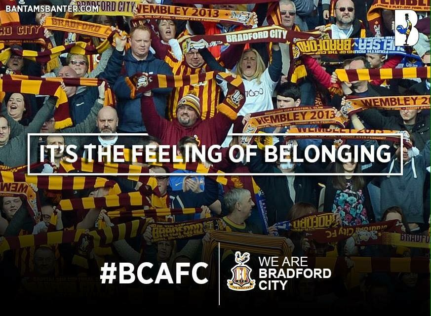 Bradford Telegraph and Argus: Best of luck on Saturday lads! The whole City Of Bradford are supporting you! This is our time to deliver! #bantamsfamily #alwaysrememberthe56 #bestfansinthecountry #wembleyisaplaceforwinners