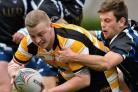 Odsal Sedbergh's James Sharp goes over the line against Knottingley  Pictures: Mike Simmonds