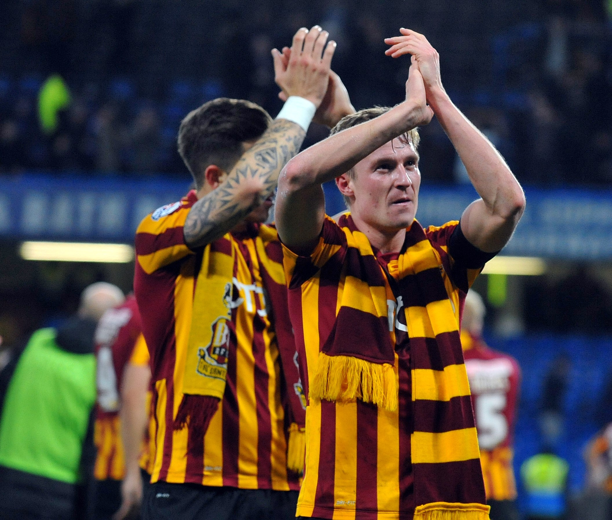 Stephen Darby applauds the Bantams fans after their famous FA Cup win at Chelsea