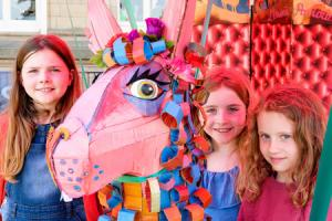Sophie Collingwood, nine, Amber Collingwood, Elma Baker, both aged seven, enjoy children's activities at Saltaire Arts Trail