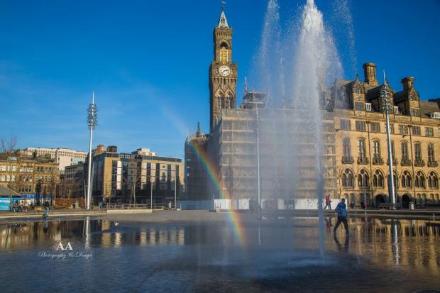 Bradford Telegraph and Argus: An archive shot of the water fountains and a rainbow at City Park