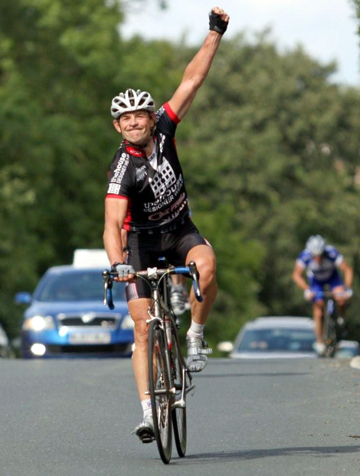 Sid Barras winning the National Over-50s Road Race Championship