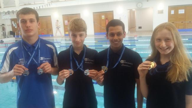 City of Bradford Swimming Club quartet Archie Dunne, Archie Minto, Cameron Mander and Sophia Basaraba