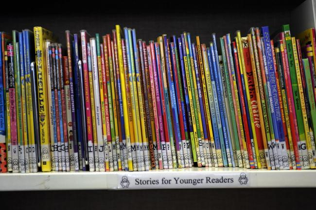 A row of children's books at the Thornton Library - a community run library