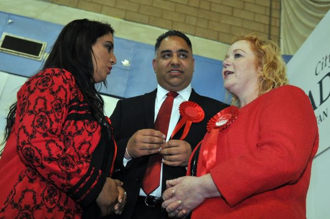 Bradford West MP Naz Shah, Bradford East MP Imran Hussain and Bradford West MP Judith Cummins talk following the result announcements at Richard Dunn Sports Centre