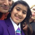 Bradford Telegraph and Argus: Maya Khan, a student at Articulate, with Ackley Bridge actors Adil Ray and Jo Joyner