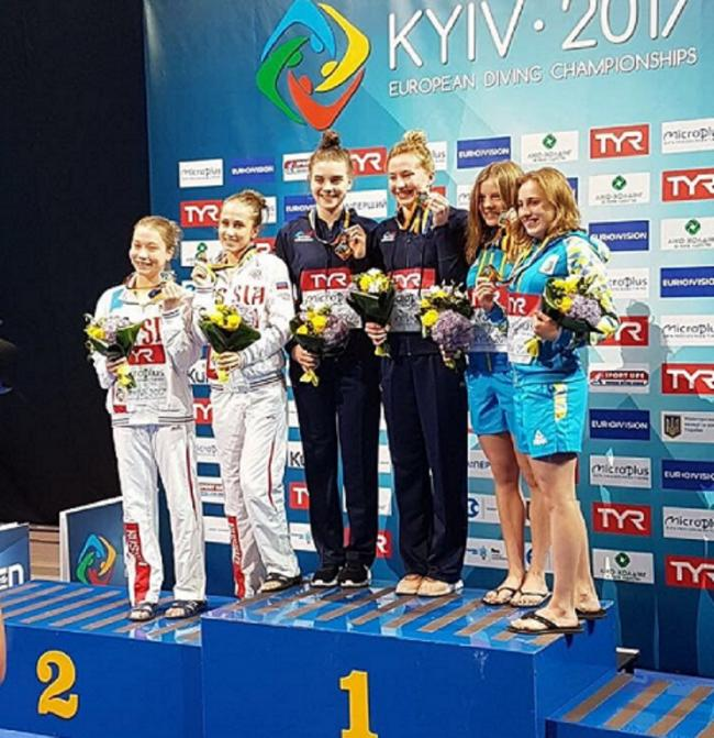 Great Britain's Phoebe Banks, left, and Wilsden's Ruby Bower show off their synchro platform gold medals on top of the podium at the European Championships in Kiev Picture: Kim White
