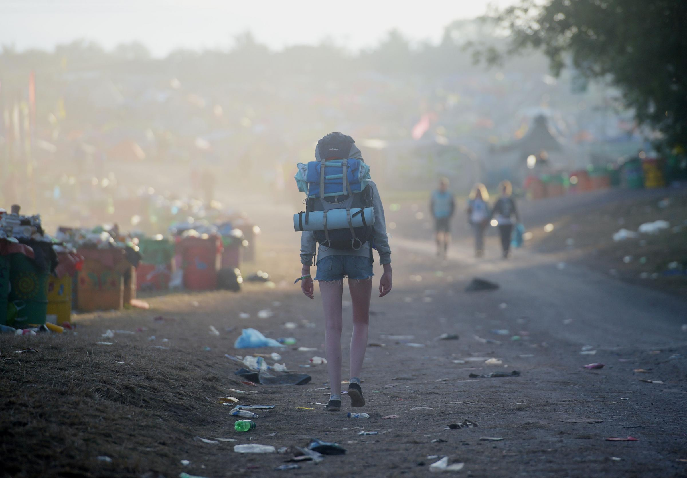 Festival goers leave following the Glastonbury Festival. Picture: Ben Birchall/PA Wire